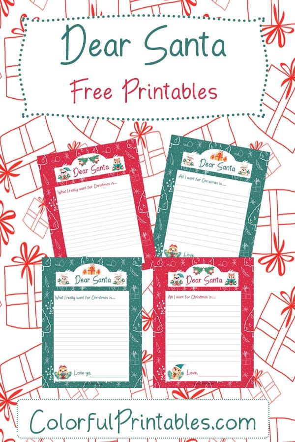 Free Printables for Christmas Dear Santa letter