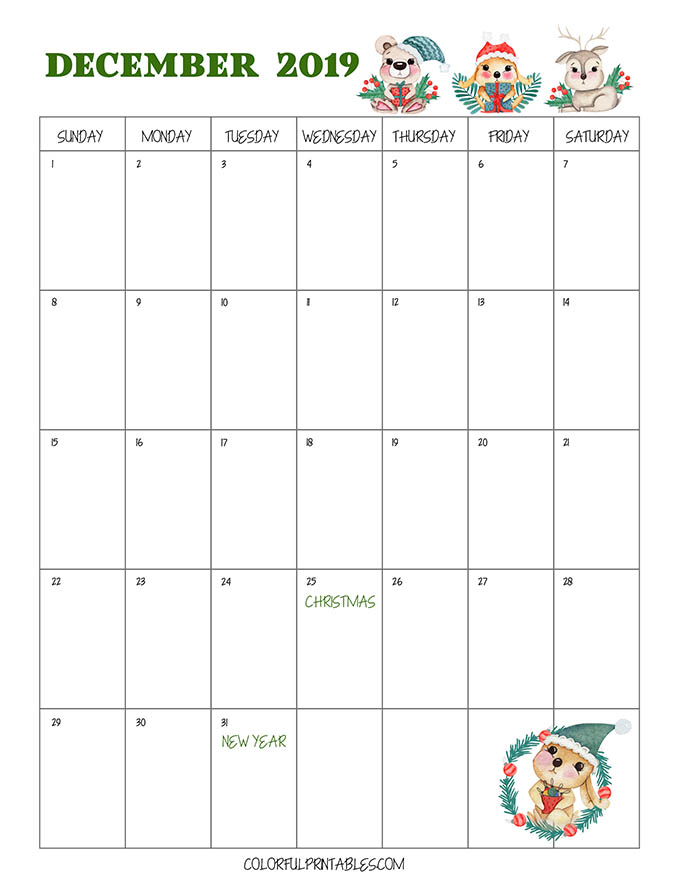 Free Downloadable December Calendar