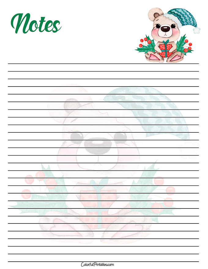 Bear Note paper for the Holidays printable