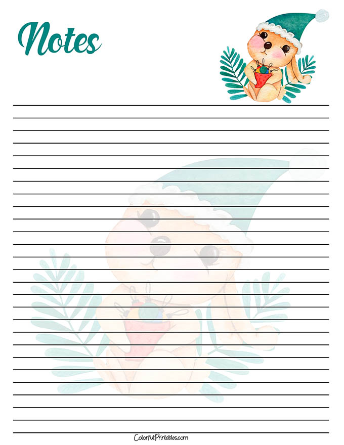 Bunny Note paper for the Holidays printable