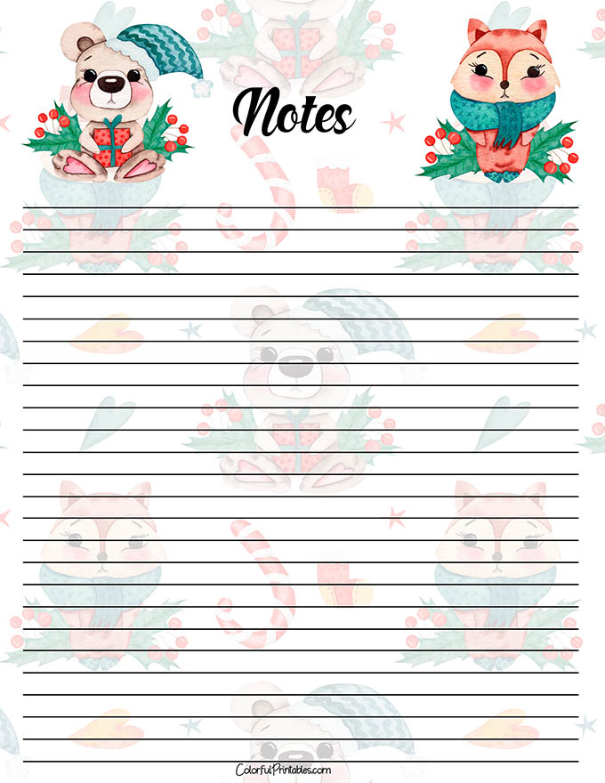 Watercolor Animal Note paper for the Holidays printable