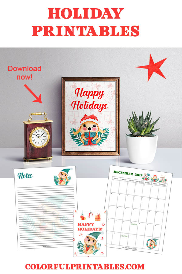 Download the free Holiday note paper printables, calendar and more. perfect for Christmas