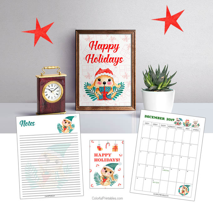 Free Holiday Note printables and December Calendar