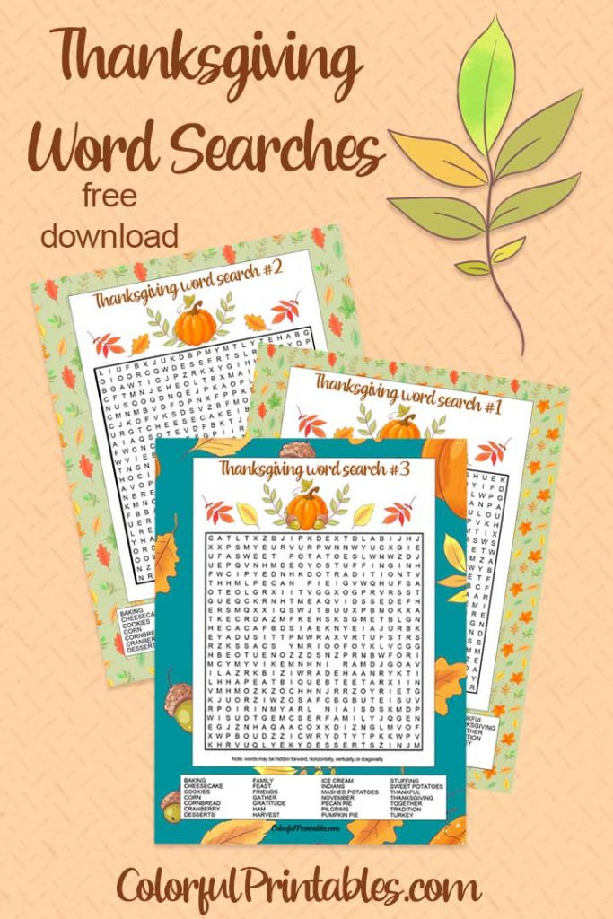 Free Thanksgiving Word Search printable puzzles