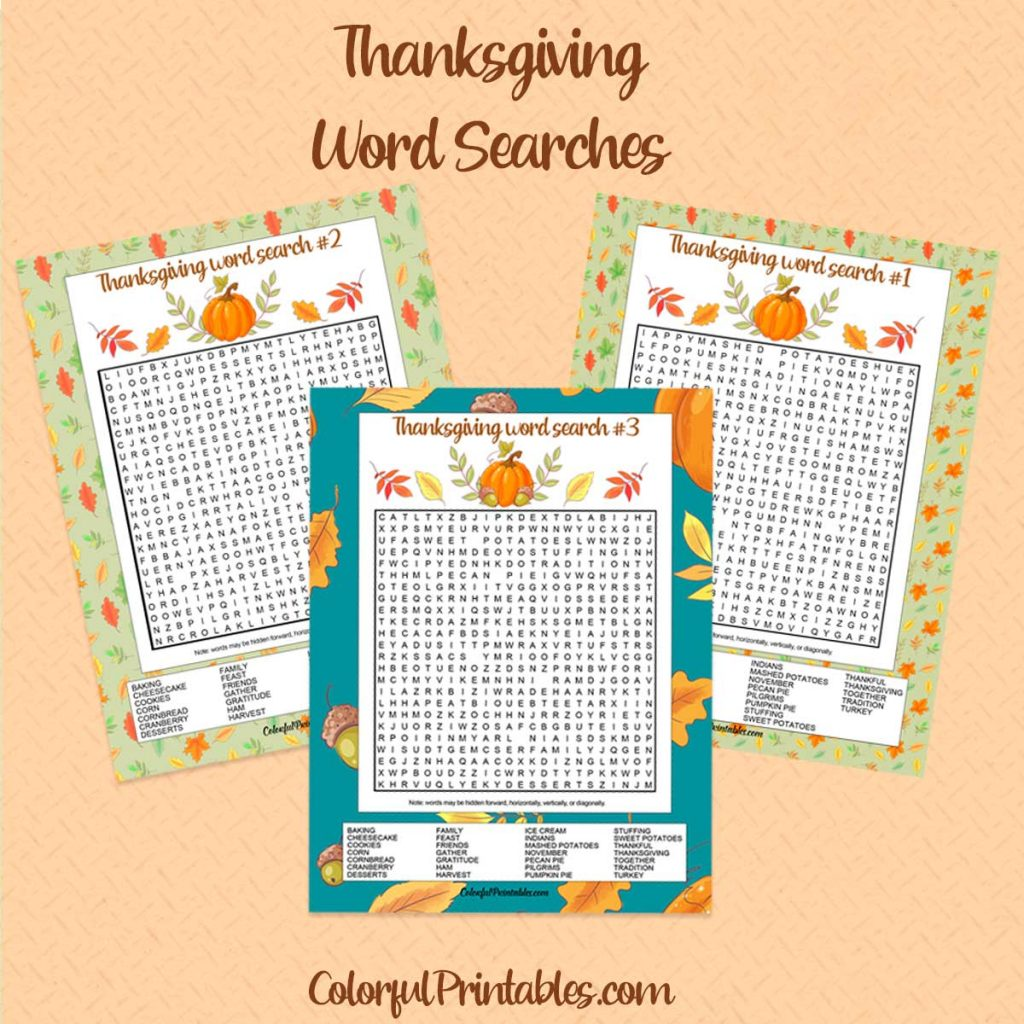 Thanksgiving Word Search Puzzles Printables