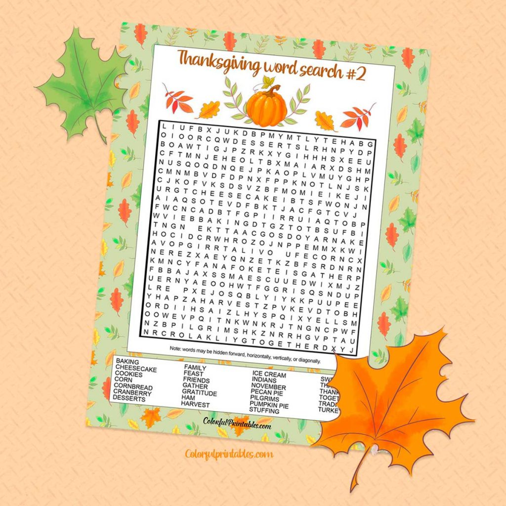 Second Thanksgiving Word Puzzle game