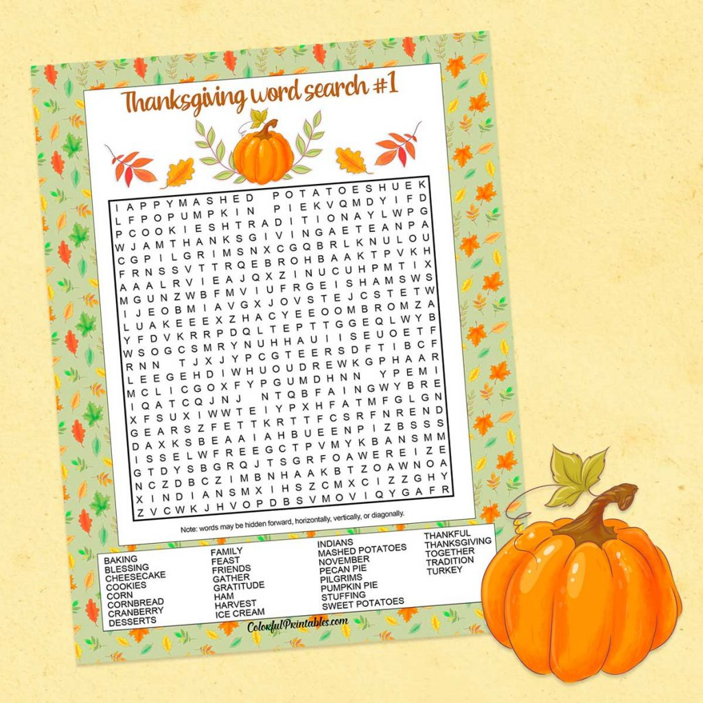 First Thanksgiving Word Search Puzzle