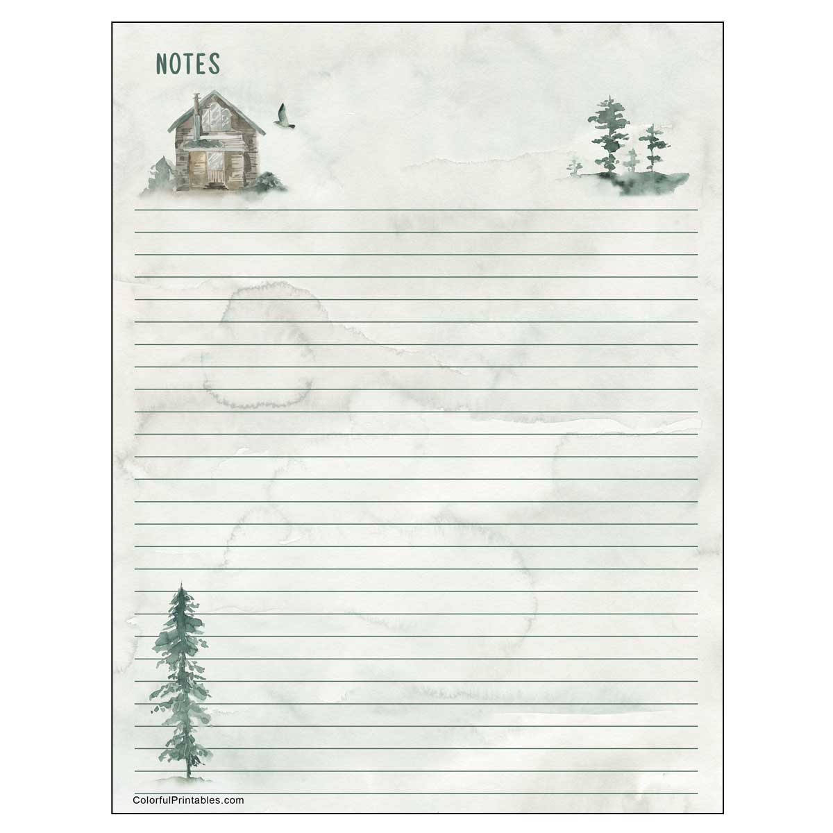 Cabin in the woods free printable notepaper