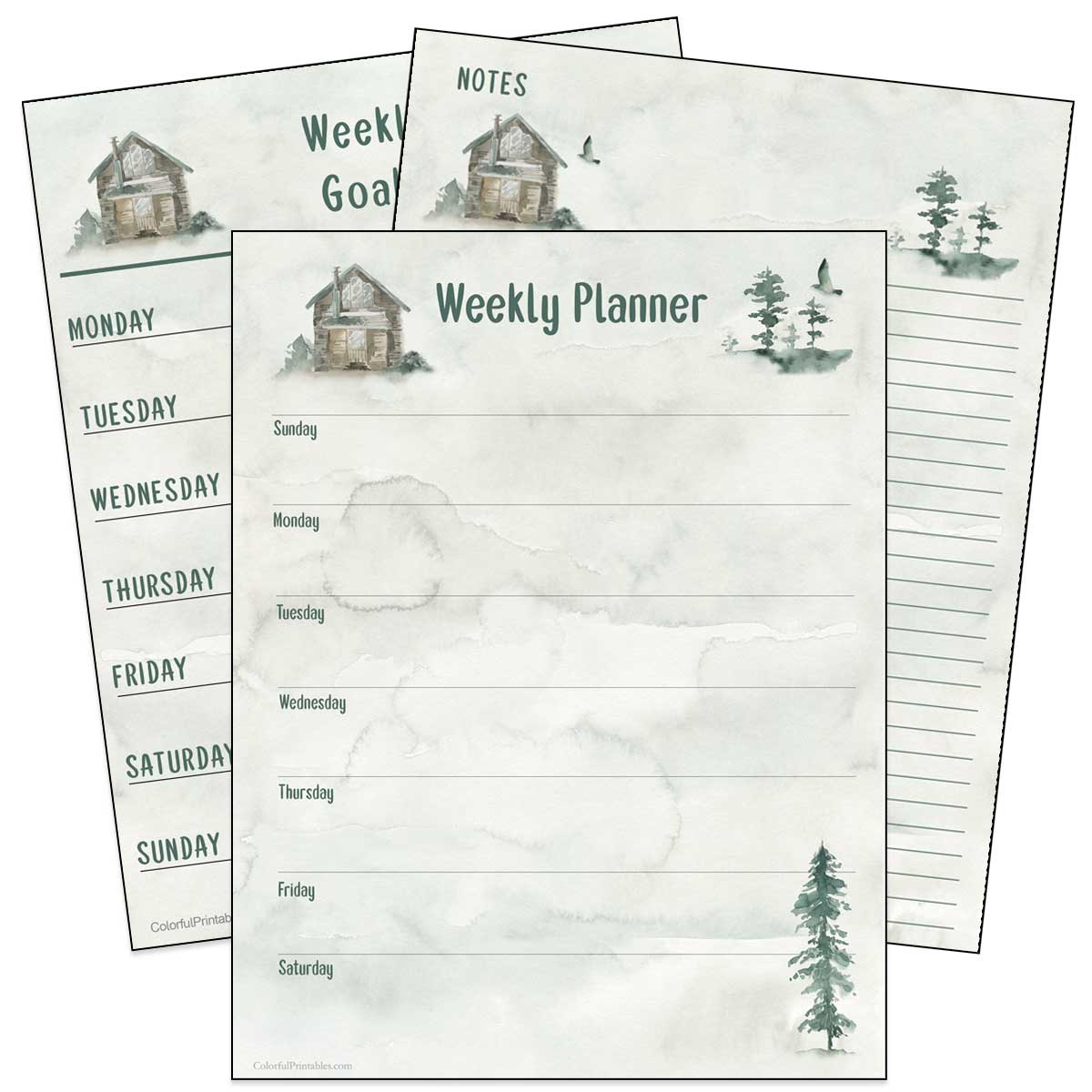 Free Printables for Notes, weekly planner and goals using Wild Pinery