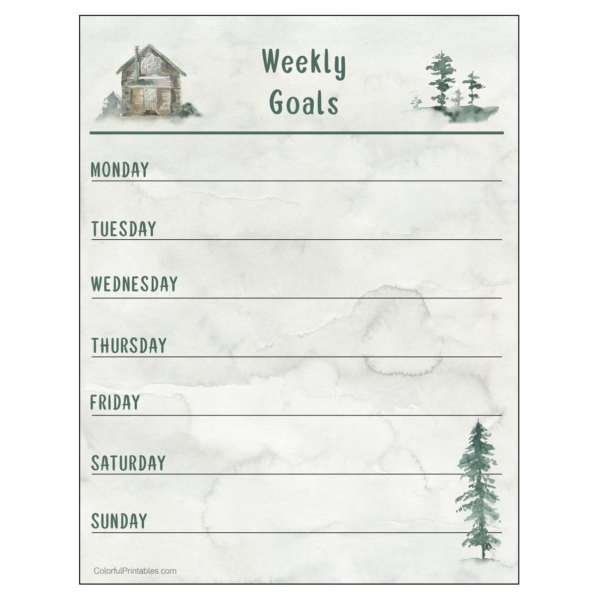 Cabin in the woods free printable weekly goals