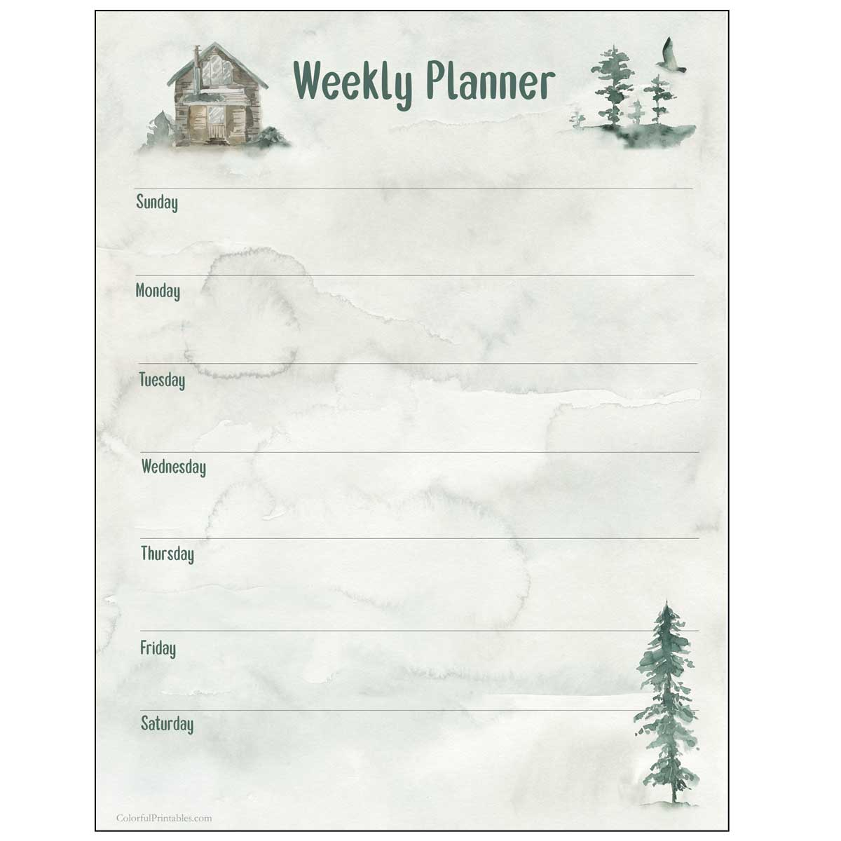 Cabin in the woods weekly planner free printable