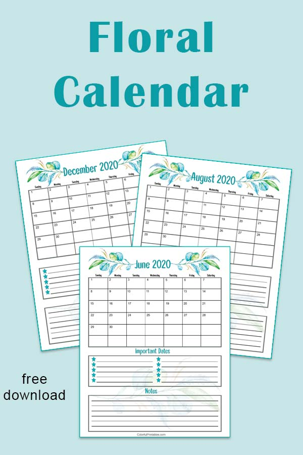 2020 downloadable calendar