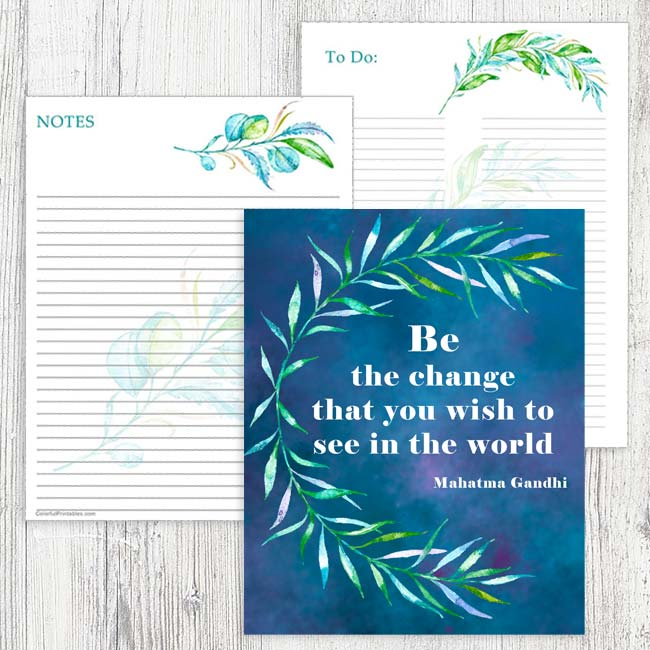 Teal Floral Printables and Quote