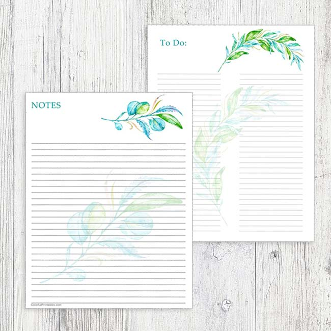 Teal Floral To Do and Notes printables