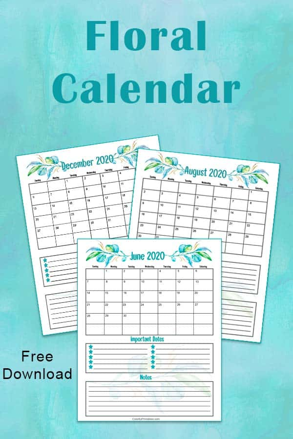 Floral Calendar free download