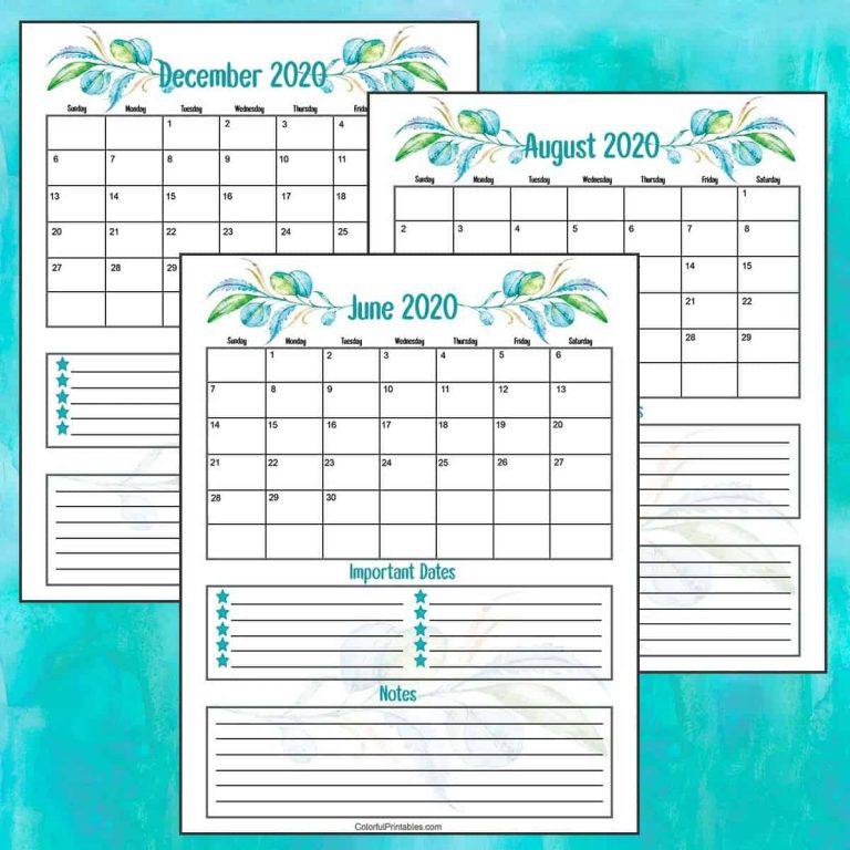 Teal Floral 2020 Calendar