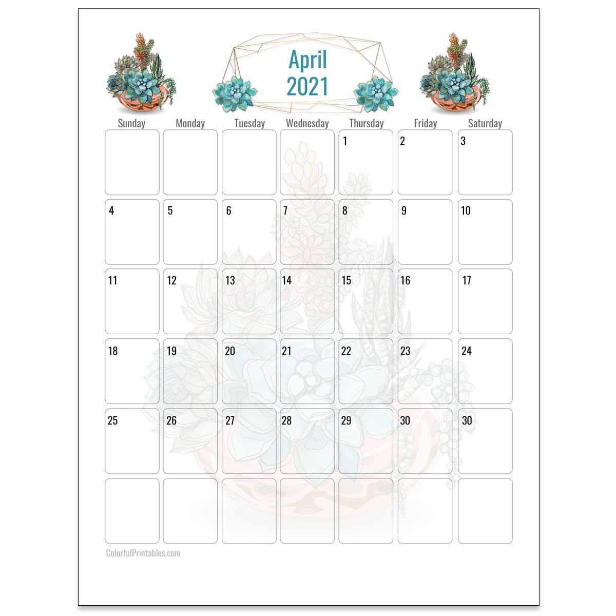 April Succulents Calendar