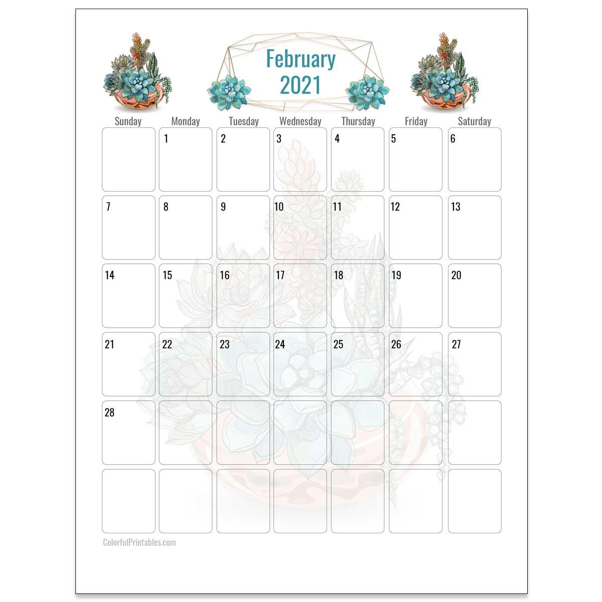February Succulents calendar