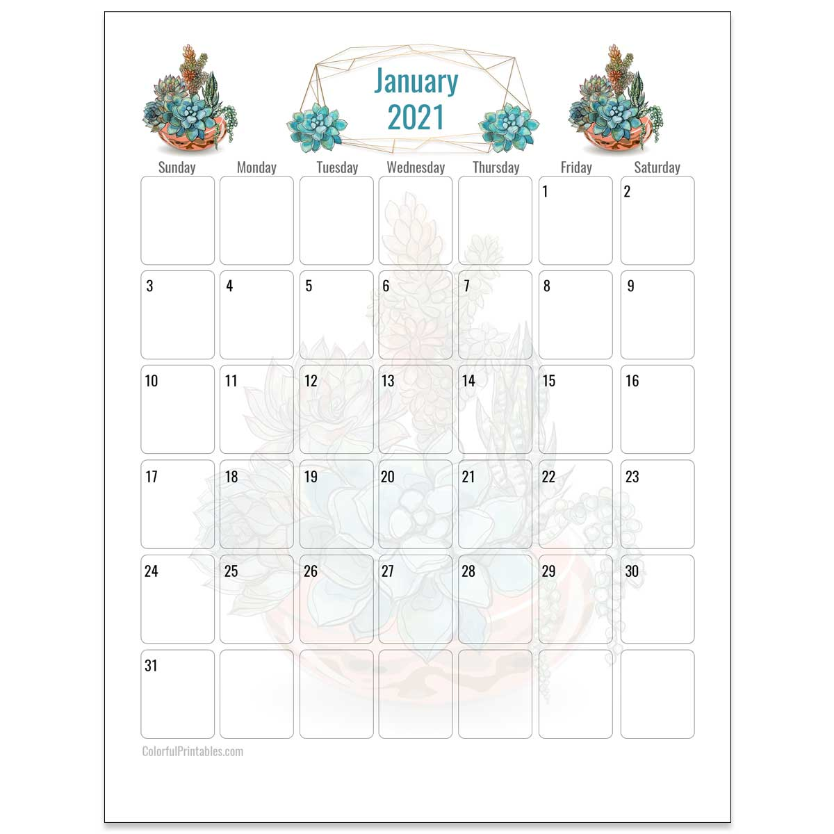 January 2021 Succulents Calendar