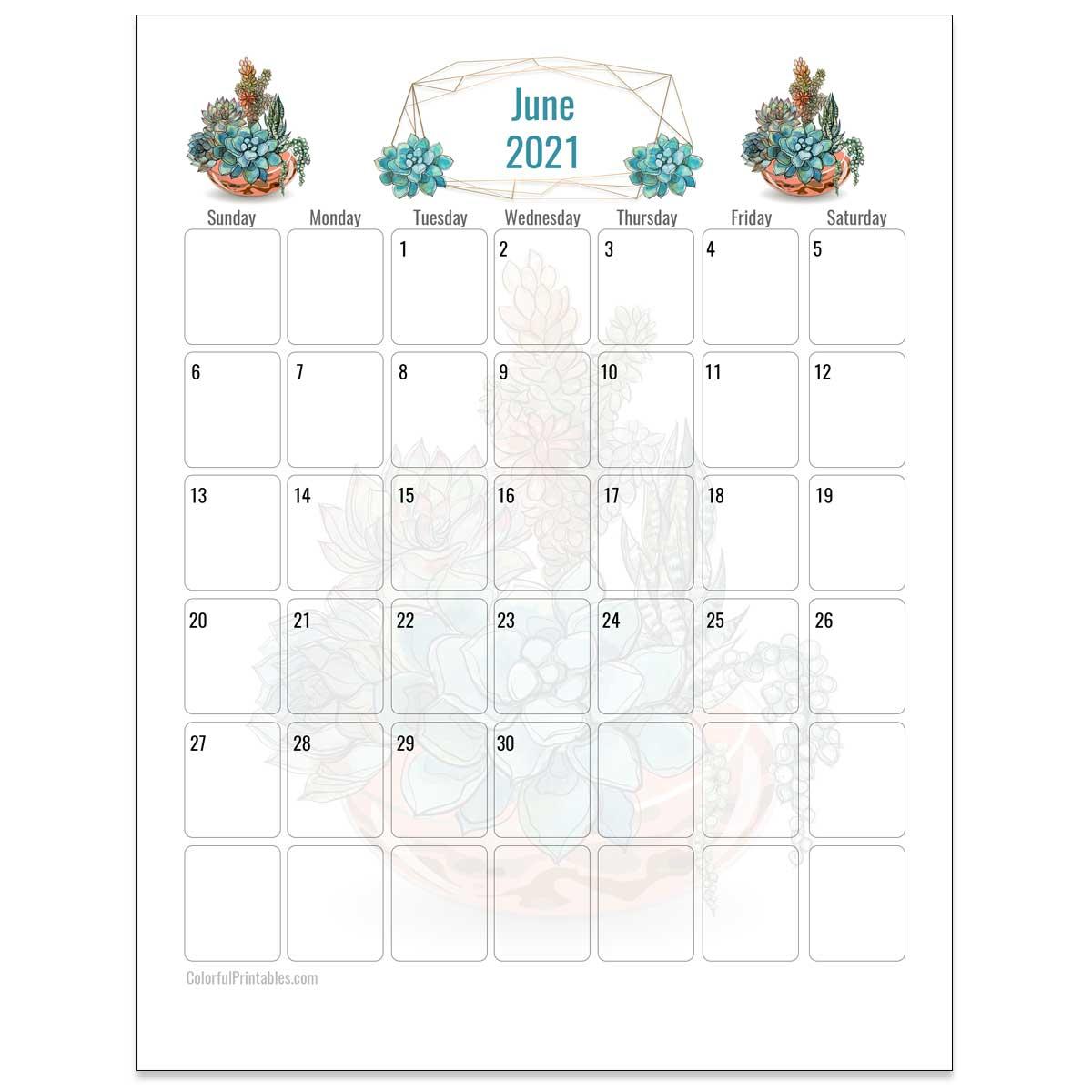 June Succulent calendar
