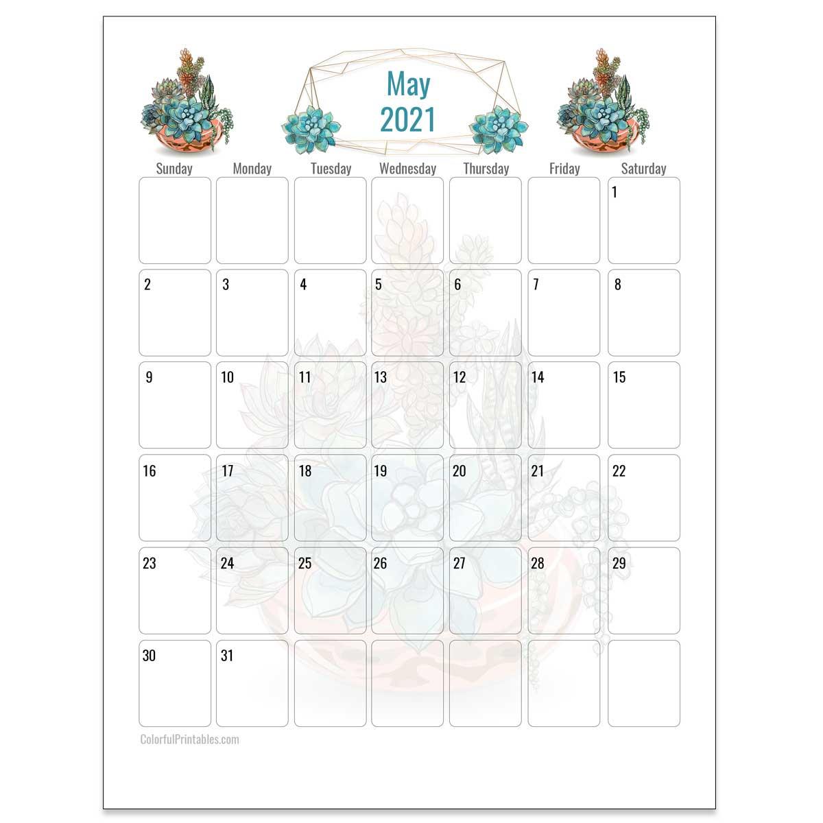 May Succulent Calendar