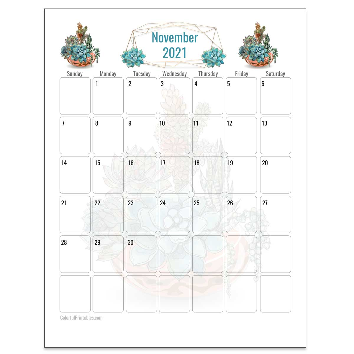 November succulent Calendar