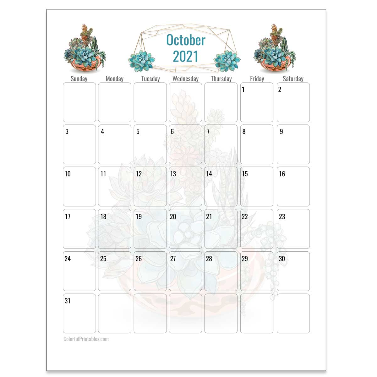 October Succulent calendar